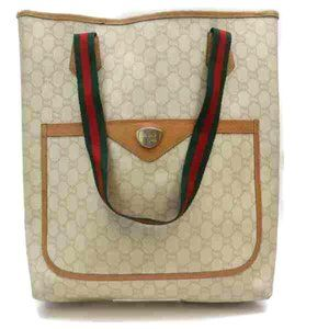 Auth Gucci Tote Bag Light Brown Coated #6293G10